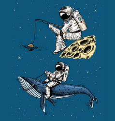 Astronaut spaceman with a fishing rod on moon vector