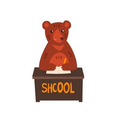bear sitting at the desk cute animal cartoon vector image