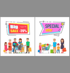 Big sale on wholesale purchases for big families vector