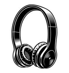 Black and white of headphones vector