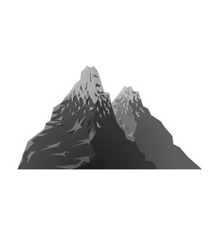 black and white snowy mountain retro silhouette vector image