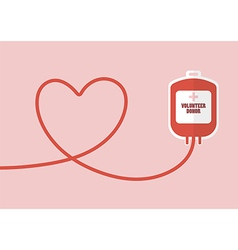 Blood donation bag with tube shaped as a heart vector image