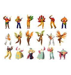 Brazilian carnival character costume set latino vector