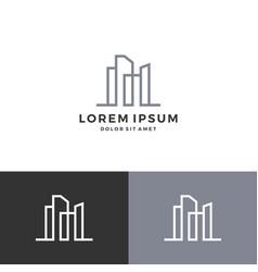 Building logo line art outline download vector