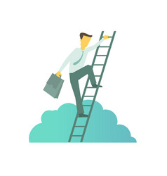 businessman with briefcase climbing a ladder to vector image