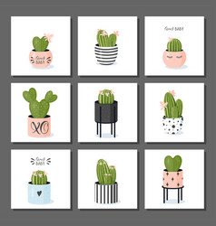 Cactus collection potted blooming cacti in cute vector
