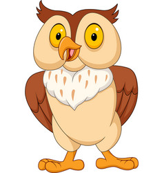cartoon funny owl isolated on white background vector image