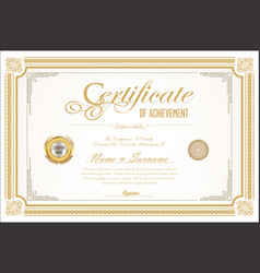 certificate retro design template 04 vector image