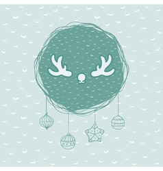 Christmas and new year round frame with deer horns vector