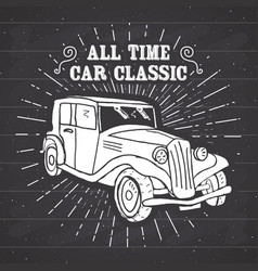 classic car vintage label hand drawn sketch vector image