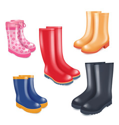 colored rubber boots realistic icon set vector image