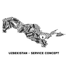 Composition uzbekistan map of repair tools vector