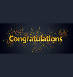 congratulations banner with fireworks vector image