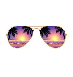 cool aviator sunglasses sunset beach gold frames vector image