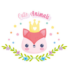 cute animals fox face with crown leaves flowers vector image