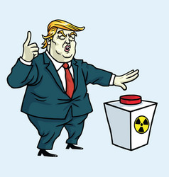 Donald trump shouting and push the red button vector
