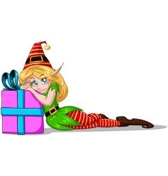 Elf Girl Leaning On Present For Christmas vector