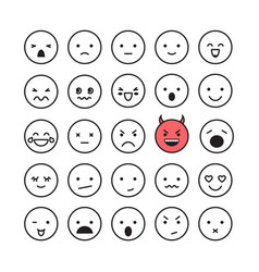 emoticon smile face icon set vector image