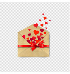 envelop with red hearts transparent background vector image