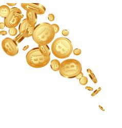 falling metallic bitcoins background vector image