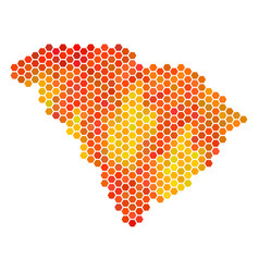 Fire hexagon south carolina state map vector