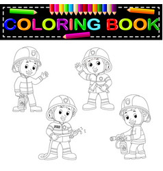 Firefighter coloring book vector
