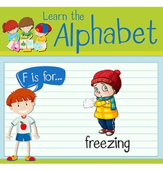 Flashcard letter F is for freezing vector