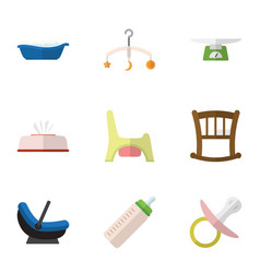 flat icon baby set of tissue pram mobile and vector image
