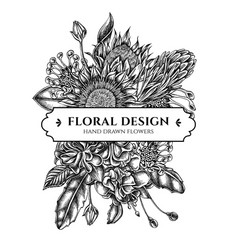 Floral bouquet design with black and white african vector