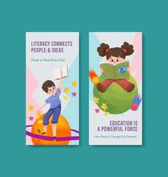flyer template with international literacy day vector image