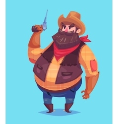 funny cowboy cartoon character vector image