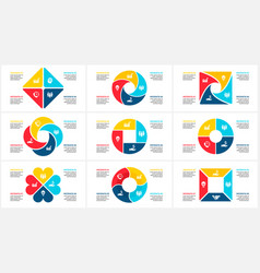 geometric infographic set template for vector image