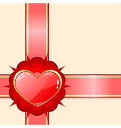 Gift ribbon with red heart vector image