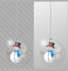 glass christmas ball with snowman design template vector image