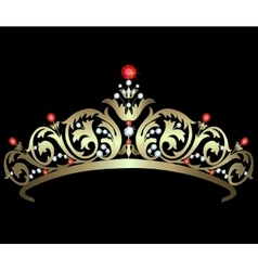 Gold diadem with rubies vector