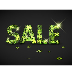 Green sale label made from letters vector