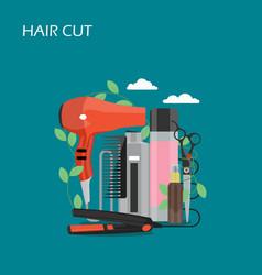 Hair cut flat style design vector