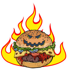 halloween burger in flames hell hot food vector image