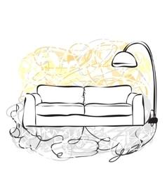 Hand drawn sofa vector image