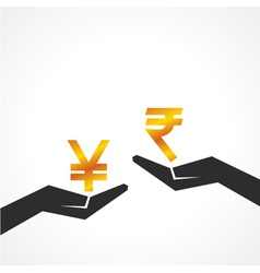 Hand hold yen and rupee symbol to compare vector image
