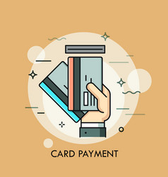 Hand inserting credit or debit card into slot vector