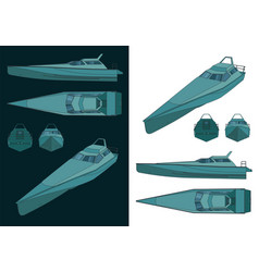 High speed patrol boat color drawings vector