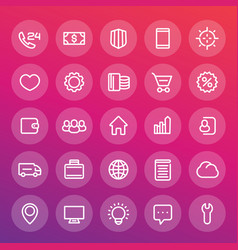 icons for web design in line style vector image