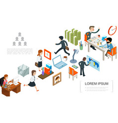 Isometric office work concept vector