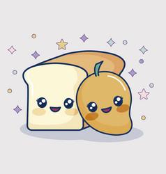 kawaii mango and bread vector image