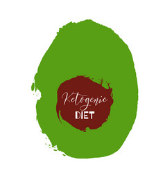 ketogenic diet lettering on hand paint avocado vector image