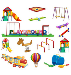 Large set many play stations in playground vector