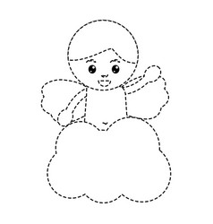 Love cute cupid in cloud waving hand vector