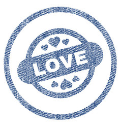 Love stamp seal rounded fabric textured icon vector