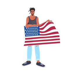 Man holding usa flag 4th july american vector